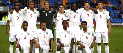 England U19 team against Russia (Scott Malone nr.3)